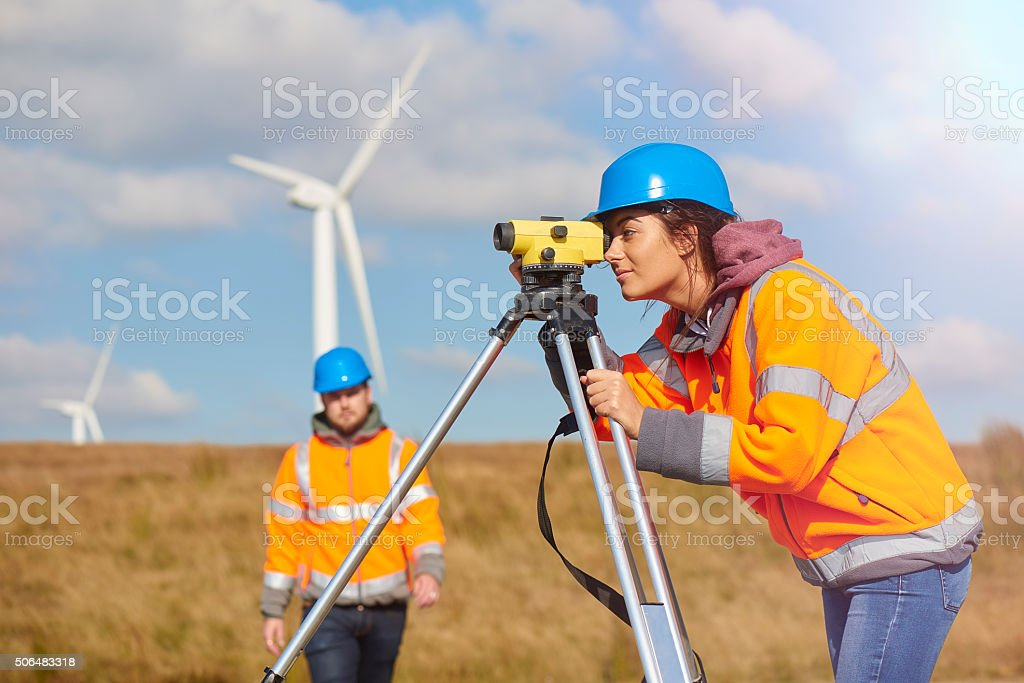 female windfarm engineer stock photo
