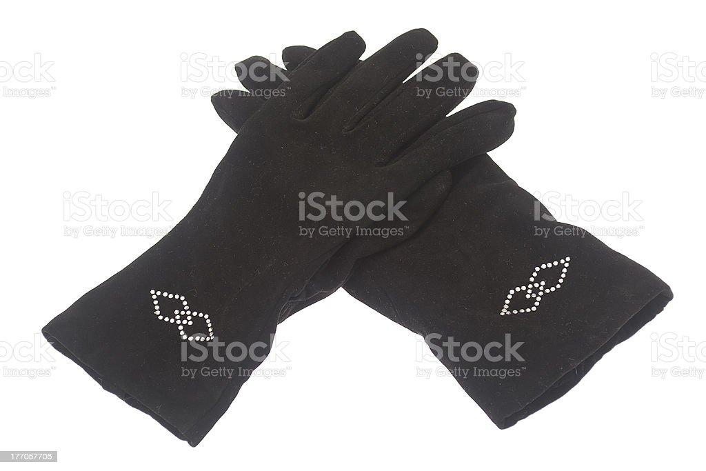 Female winter black gloves isolated on white background royalty-free stock photo