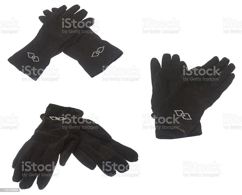 Female winter black gloves isolated on white background. Set. royalty-free stock photo