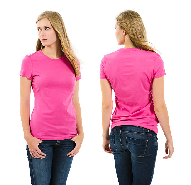 Female with blank pink shirt and long hair stock photo