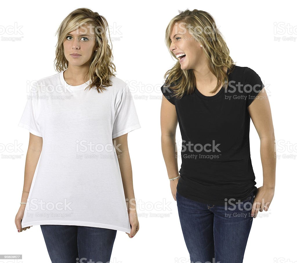 Female with blank shirts royalty-free stock photo