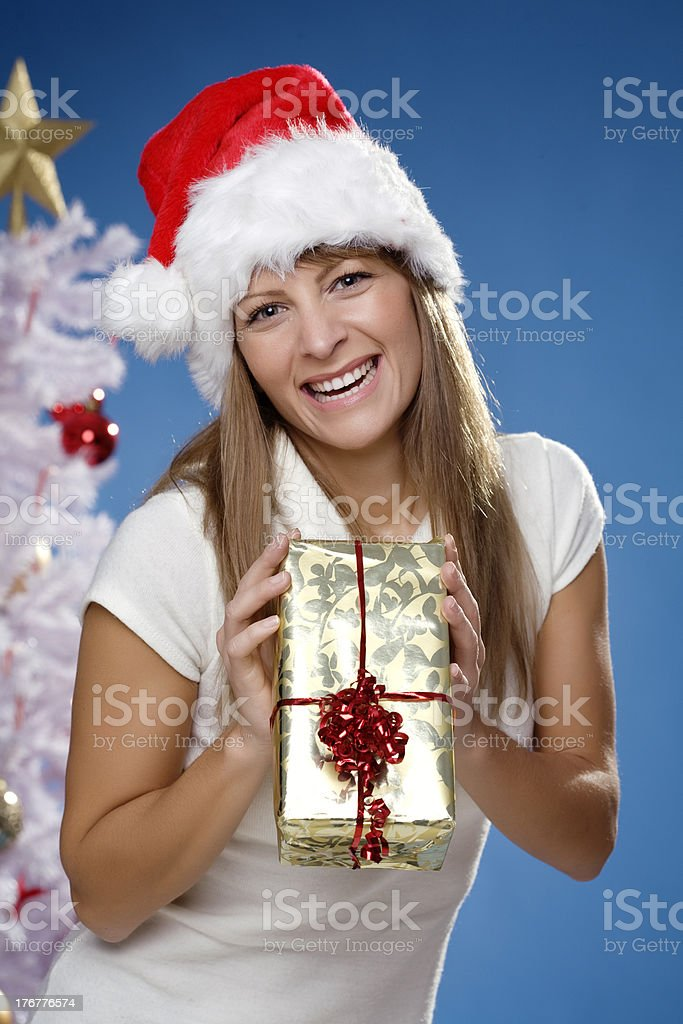 female with christmas present royalty-free stock photo
