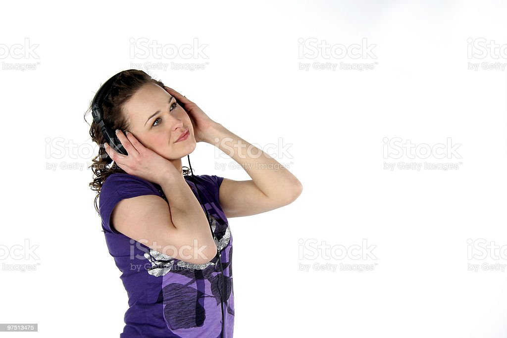 Female  with headphones royalty-free stock photo