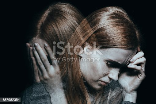 istock Female with mood disorder 887982354