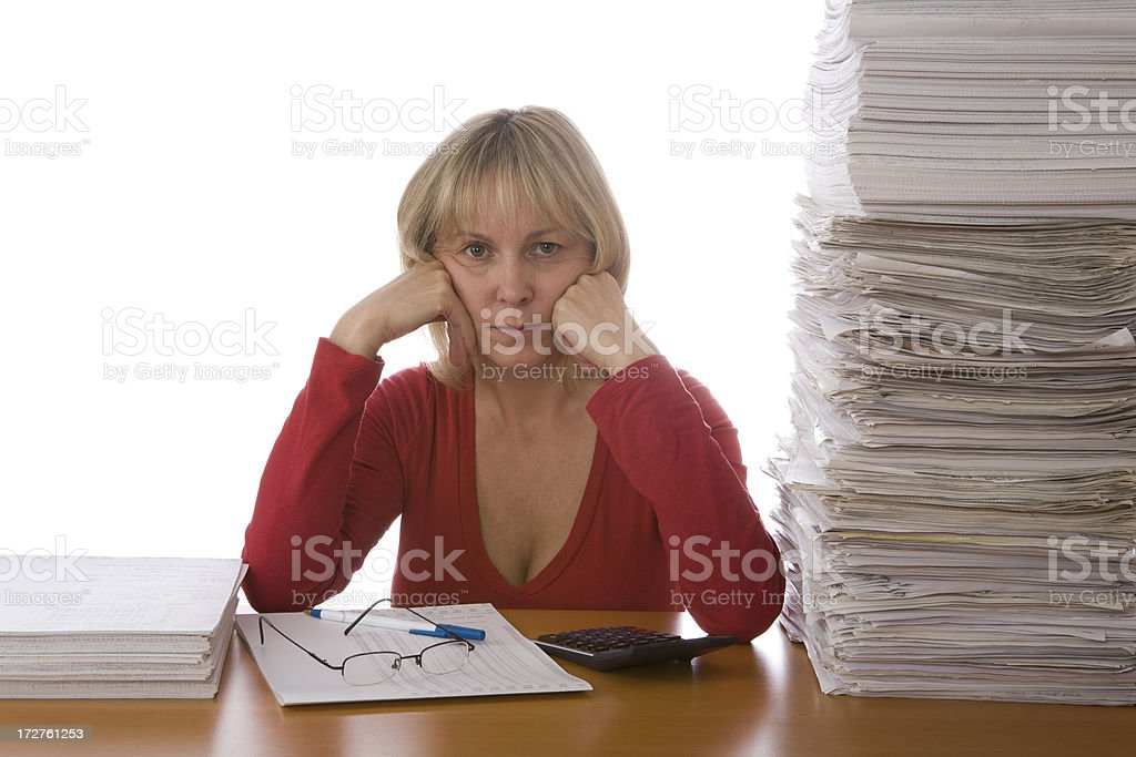 Female with stack of documents royalty-free stock photo