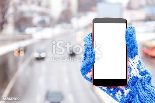 istock Female / woman / girl hand with mockup smartphone 868532990