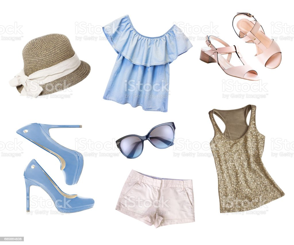 Female women  clothes collage set isolated. stock photo