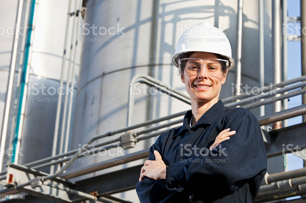 Female worker at an industrial plant royalty-free stock photo