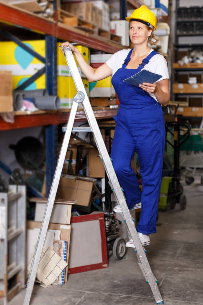 Female worker in build shop stock photo