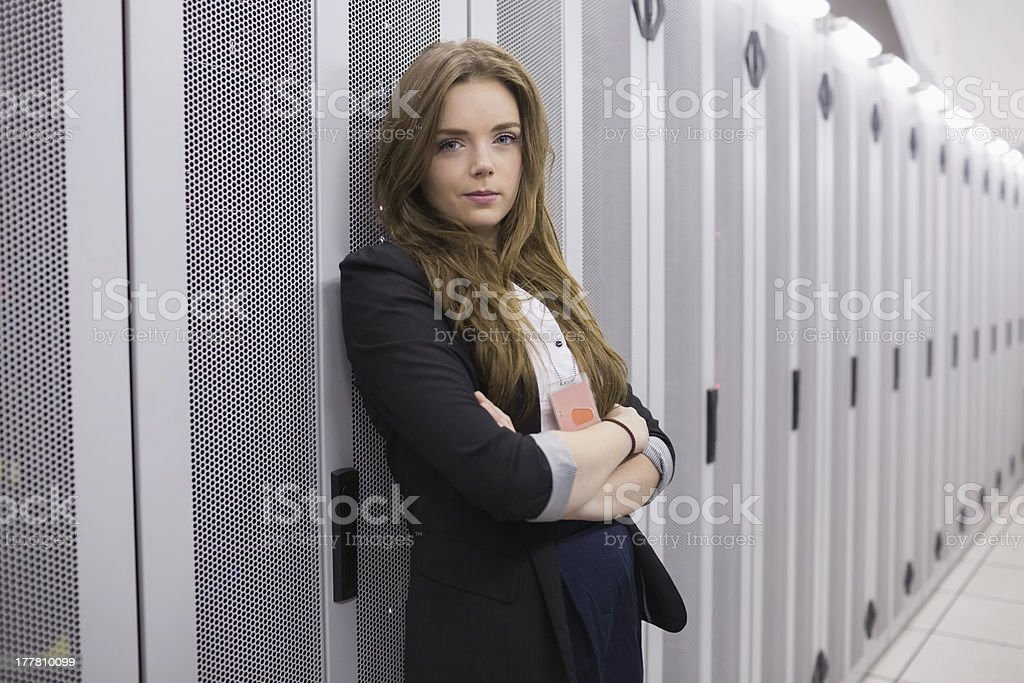 Female worker in data storage facility stock photo