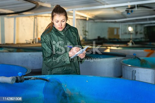 Young female worker of trout farm watching fish in pools, writing in notebook