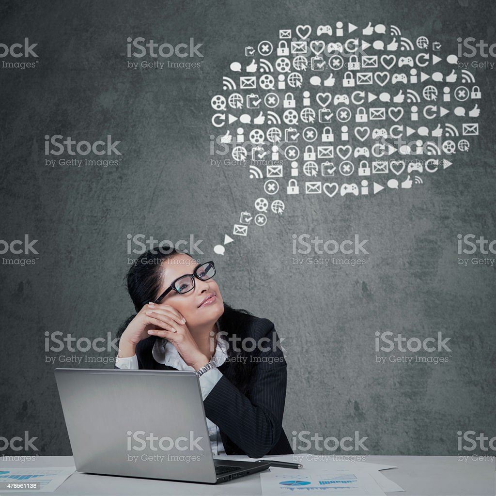 Female worker with web icons set stock photo