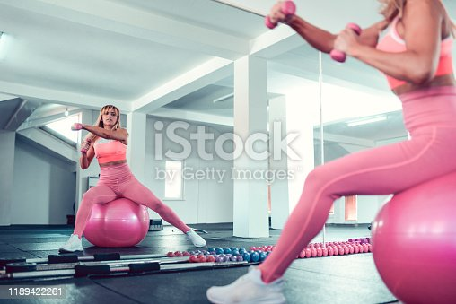 Female Working Out With Dumbbells While Sitting On Fitness Ball