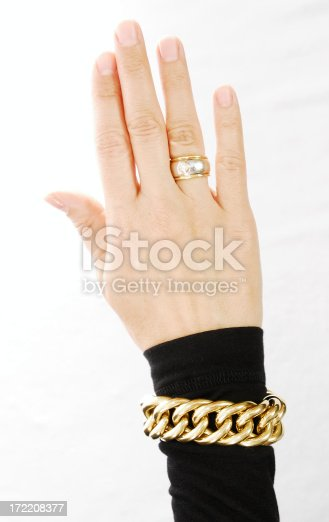 Females Hand with golden ring and bracelet on white background