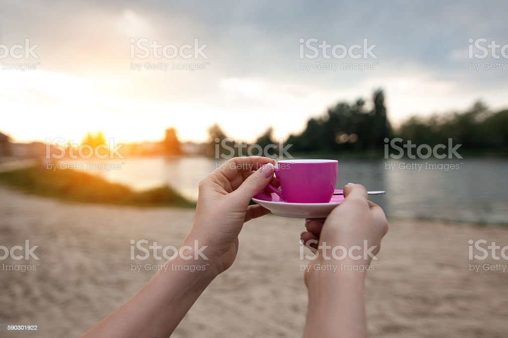 female's hands keep paper cup coffee near lake or river; royaltyfri bildbanksbilder