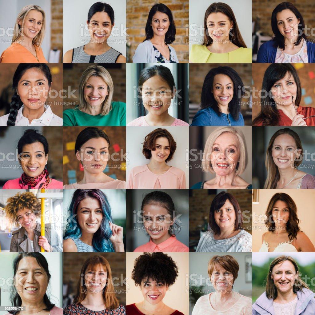 Collage en la cabeza de las hembras - Foto de stock de Adolescente libre de derechos