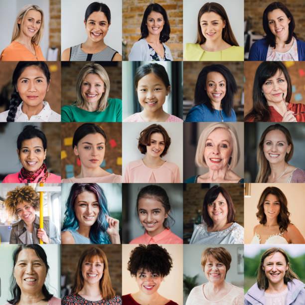 weibchen headshot collage - große personengruppe stock-fotos und bilder