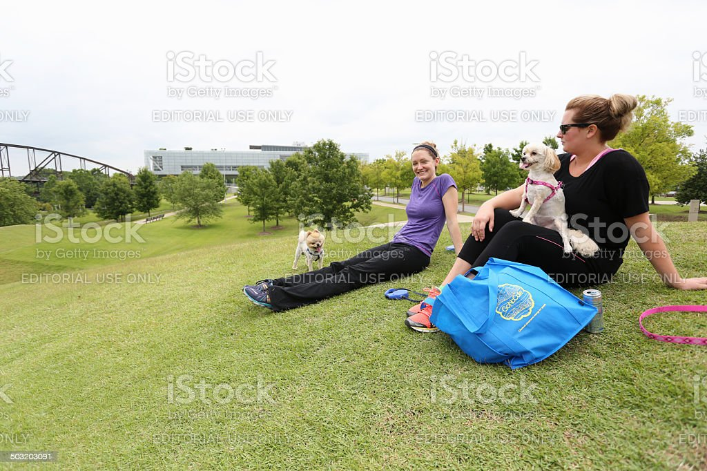 Females relaxing with dogs stock photo