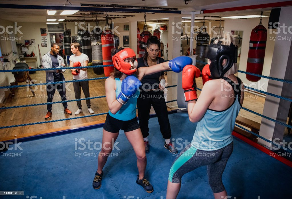 Females Sparing in the Boxing Ring stock photo