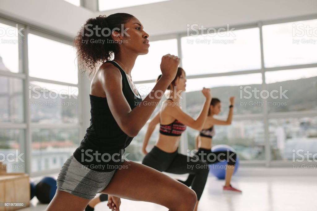 Females working out together in the health studio stock photo