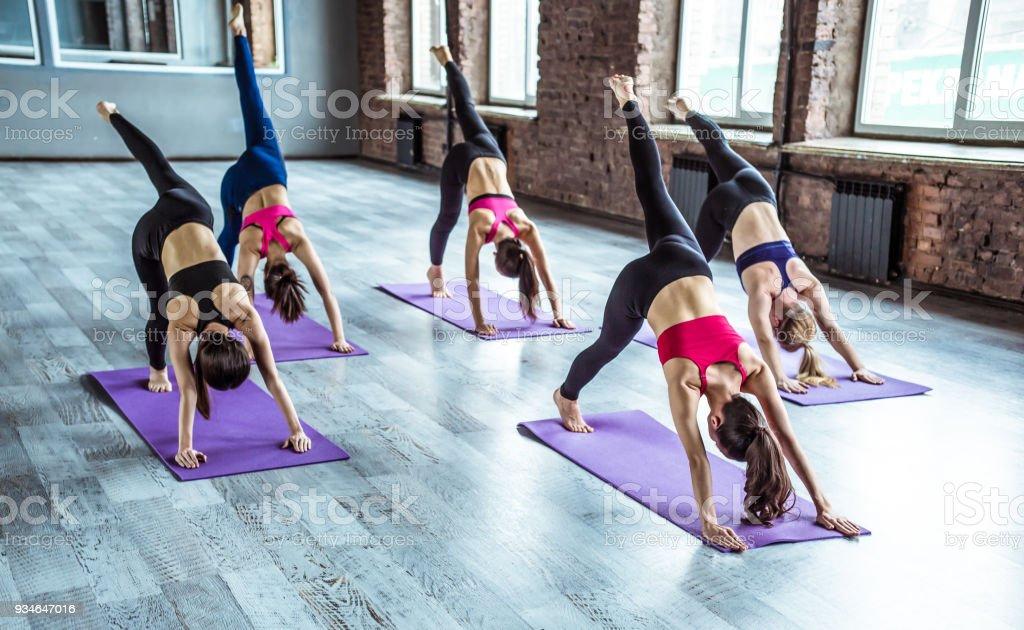 Females Yoga Class stock photo