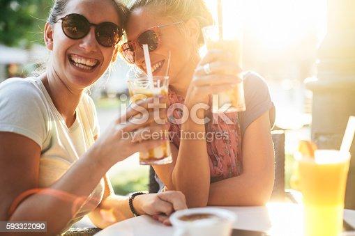 istock Femile friends having fun at sunset 593322090