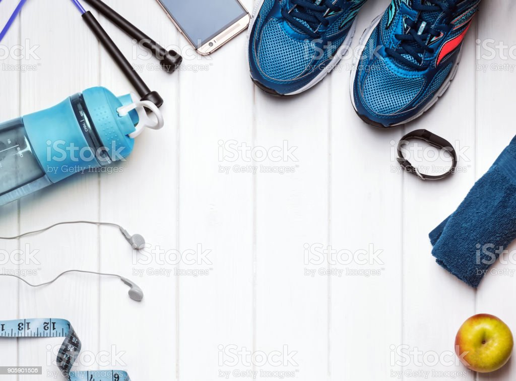 Feminine accessories for fitness. stock photo