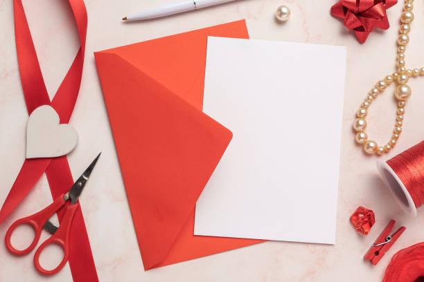 Feminine Card and Envelope Mockup stock photo