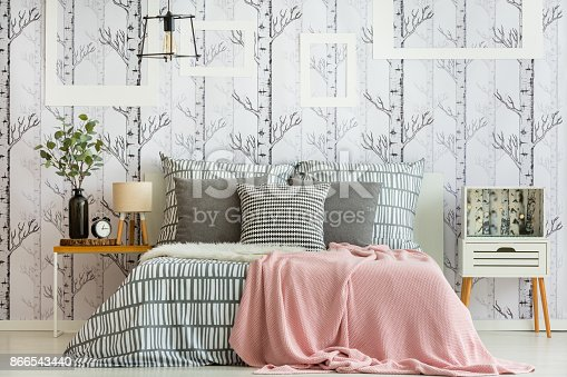 istock Feminine forest inspired bedroom 866543440