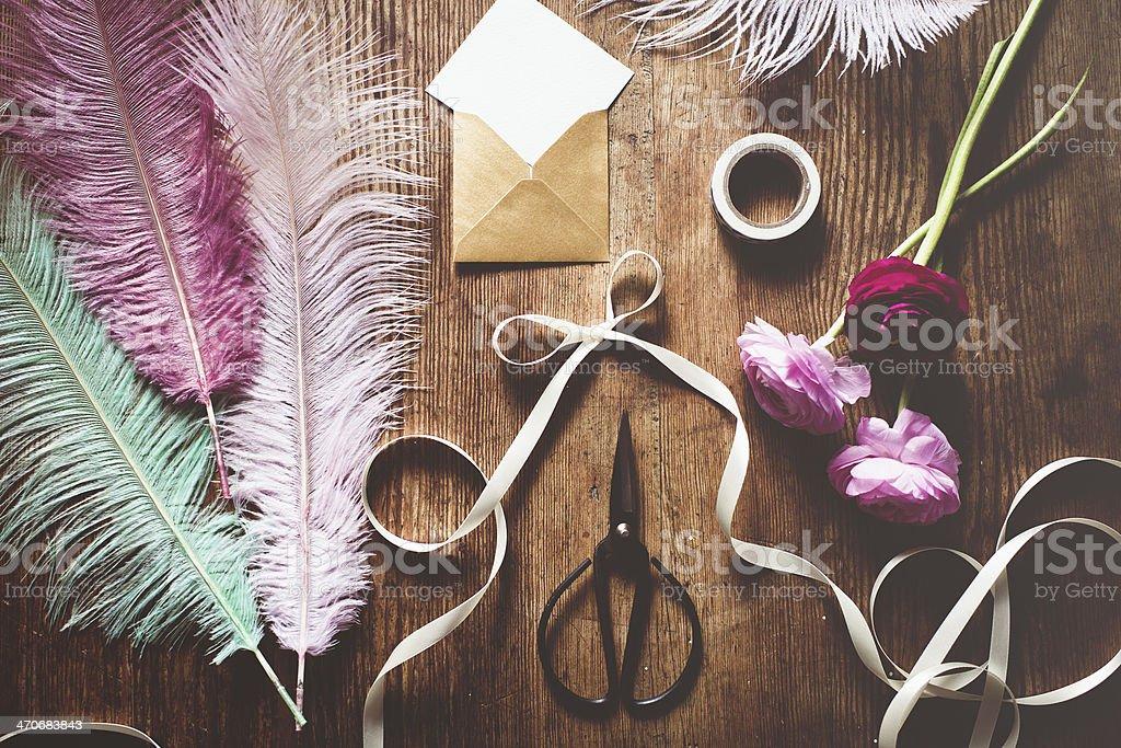 Feminine gift card setting royalty-free stock photo