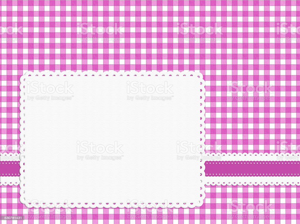 Feminine girly bright pink check gingham fabric background stock photo