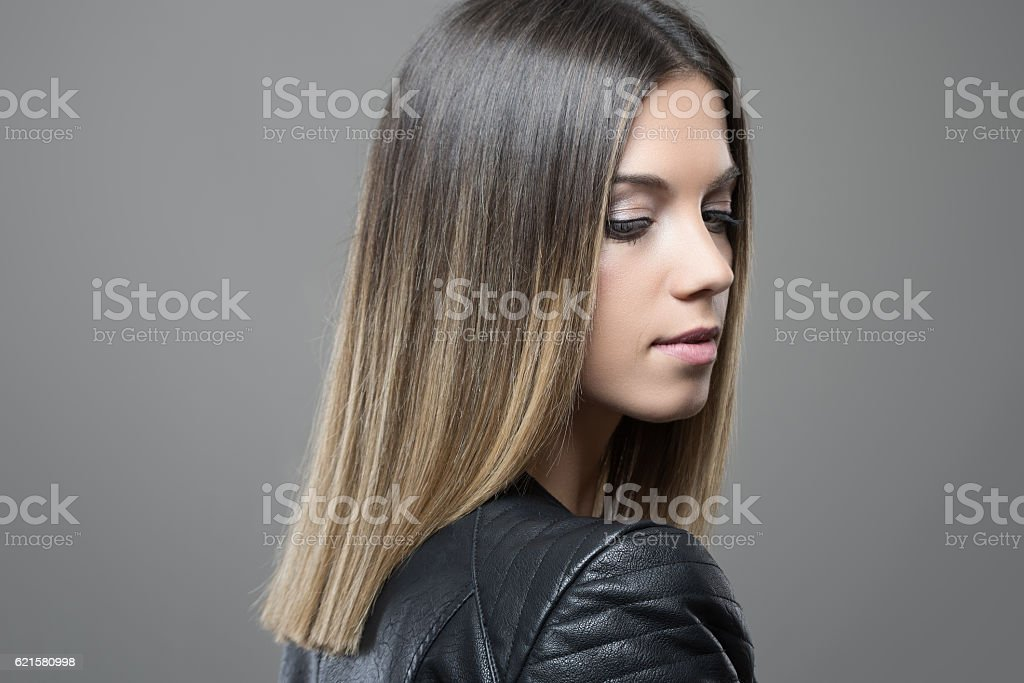 Feminine gorgeous young woman profile with closed eyes stock photo