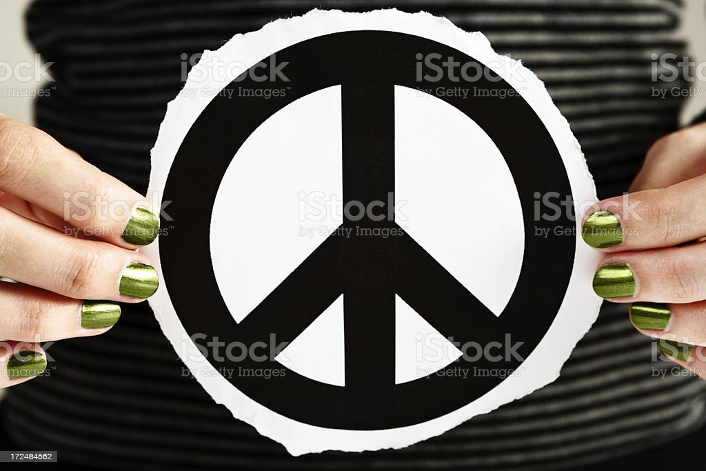Feminine Hands With Greenpainted Nails Hold Peace Sign Stock Photo ...