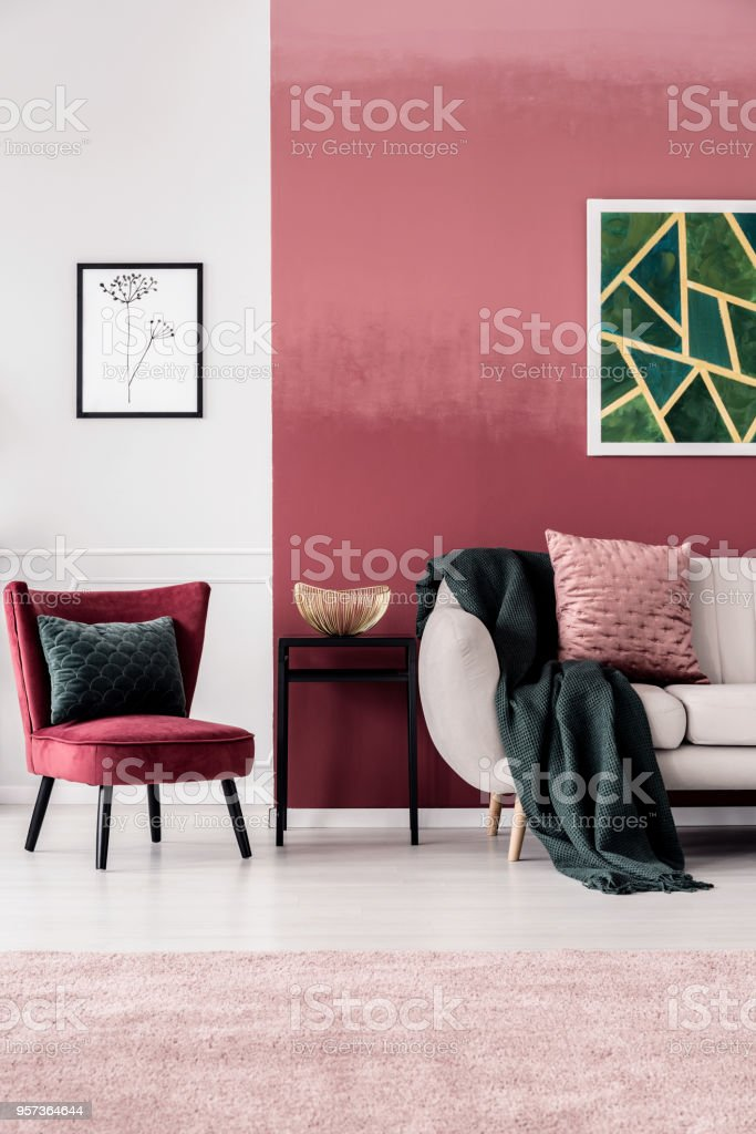 Feminine Living Room With Sofa Stock Photo & More Pictures of ...
