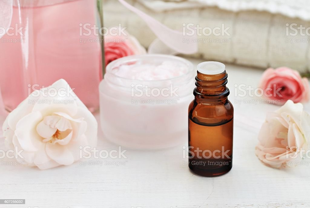 Feminine spa skincare products, rose scent. stock photo