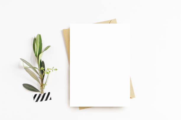 Feminine stationery, desktop mock-up scene. Blank greeting card, craft envelope, washi tape and with olive branch.White table background. Flat lay, top view. stock photo