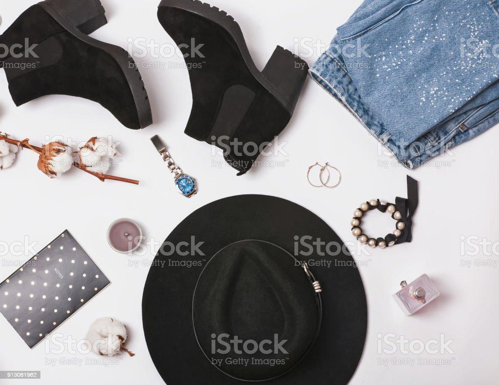 Feminine stylish accessories on the white backgorund stock photo
