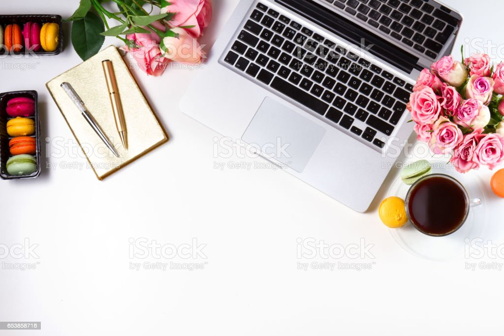 Feminine workspace, top view stock photo