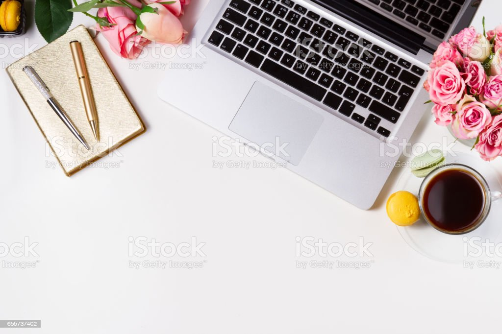 Feminine workspace, top view stock photo