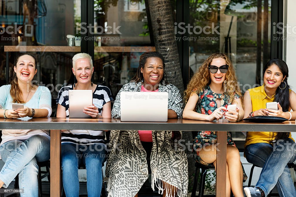 Femininity Bonding Brunch Cafe Casual Socialize Concept stock photo