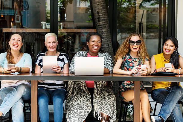 Femininity Bonding Brunch Cafe Casual Socialize Concept stock photo