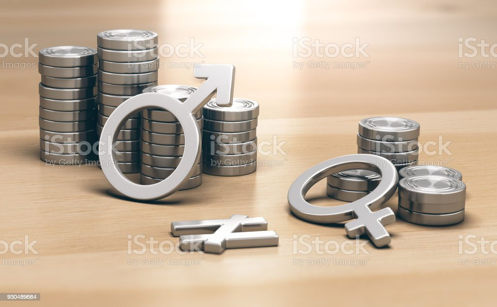 Feminism concept. Gender Pay Gap for Work of Equal Value stock photo