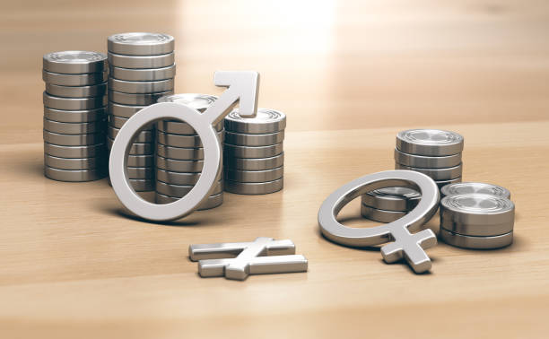 feminism concept. gender pay gap for work of equal value - wages stock photos and pictures