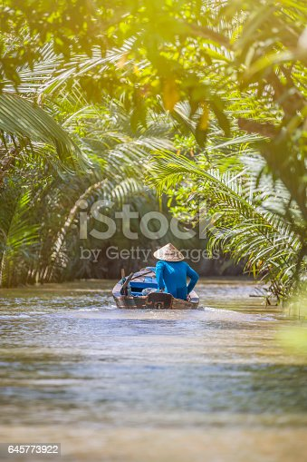 Moteur, Asie, Rivière, climat tropical, chapeau conique, VietnamMoteur, Asie, Rivière, climat tropical, chapeau conique, Vietnam