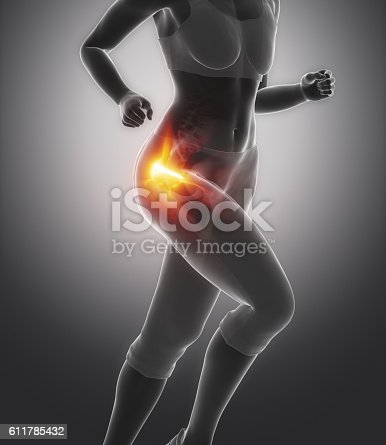 istock Femural head pain - hip injury concept 611785432