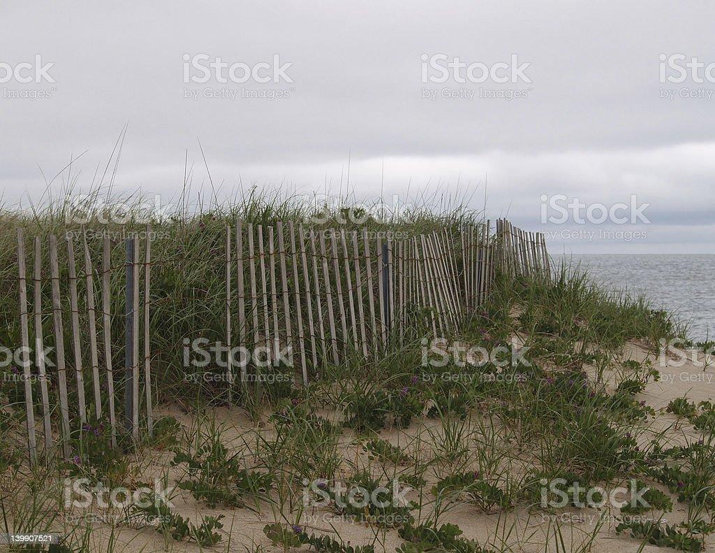 Fence along beach royalty-free stock photo
