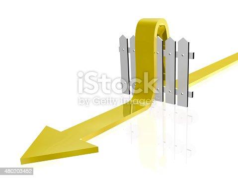 istock Fence and arrow 480203452