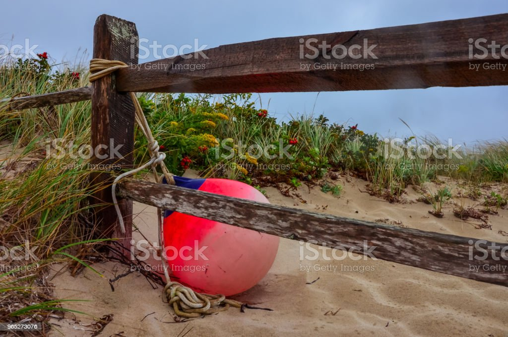Fence and Fishing Buoy at the beach royalty-free stock photo