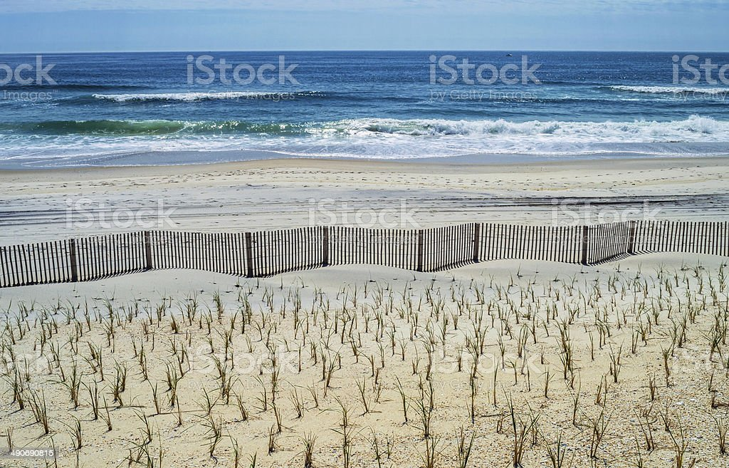 Fence and Sea stock photo