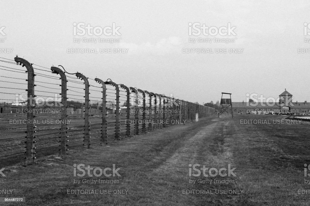 Fence And Watchtower At Concentration Camp At Auschwitz Birkenau Kz